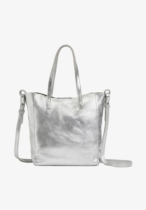 METALLIC LEATHER MINI SHOPPER - Handbag - silver