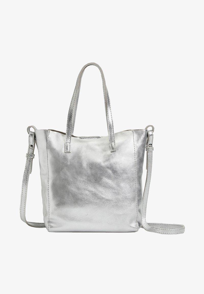 OYSHO - METALLIC LEATHER MINI SHOPPER - Handbag - silver
