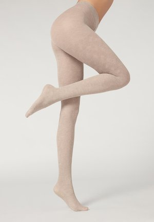 Tights - natural cashmere blend weaves