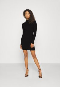 Missguided - HIGH NECK MINI DRESS - Strikket kjole - black - 1