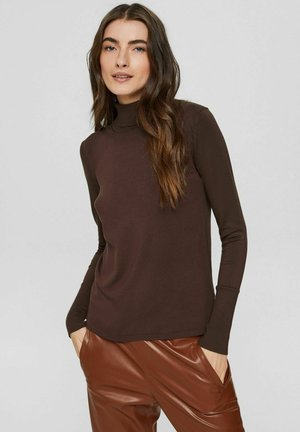 BASIC ROLLKRAGEN  LENZING ECOVERO - Sweatshirt - dark brown
