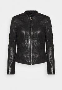LASTAV - Leather jacket - black