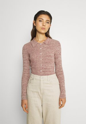 LONG SLEEVE SPACE DYE SKINNY FIT COLLARED - Jumper - mauve