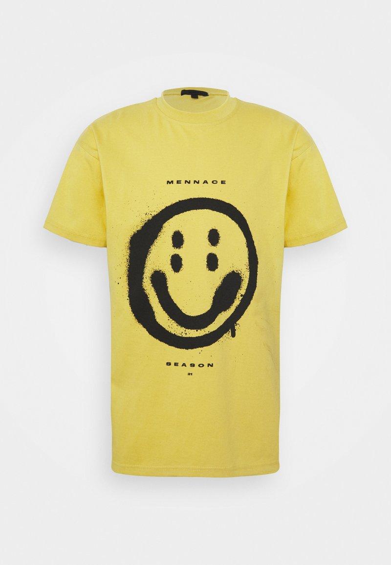 Mennace - SUNDAZE FACE REGULAR UNISEX - Print T-shirt - yellow