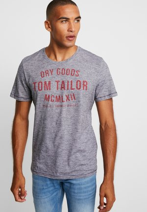 FINE YD PRINT TEE - Print T-shirt - navy/white
