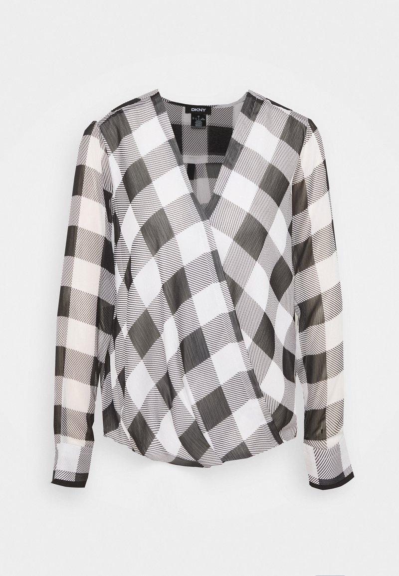 DKNY - WRAP TOP - Blouse - black/white