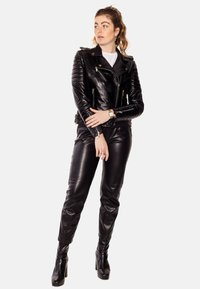 LEATHER HYPE - ALEX PERFECTO - Leather jacket - black with light silver accessories - 3