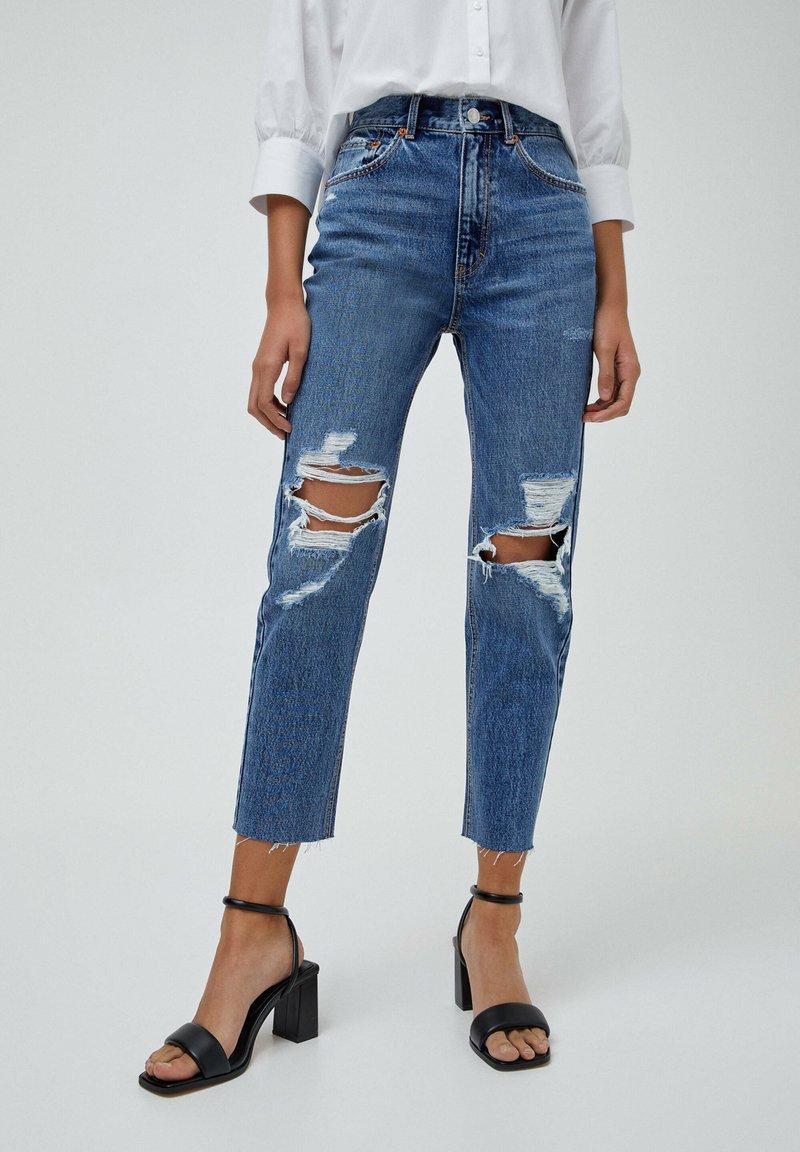 PULL&BEAR - MOM - Relaxed fit jeans - mottled blue