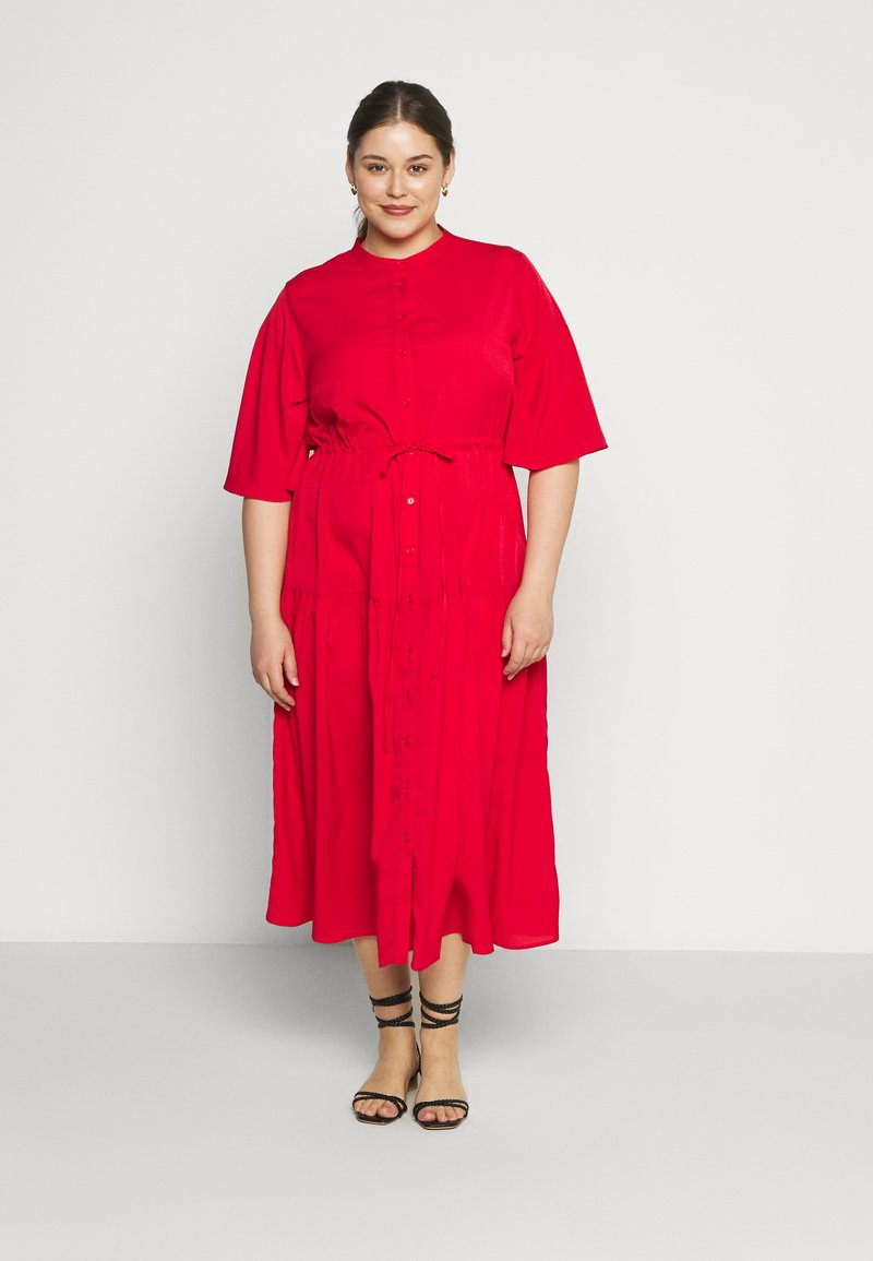 Glamorous Curve - TIE WAIST SHIRT DRESS - Blousejurk - coral red