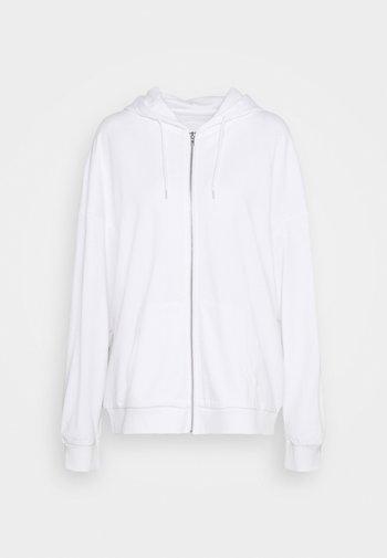 REGULAR FIT ZIP UP HOODIE JACKET - Zip-up sweatshirt - white