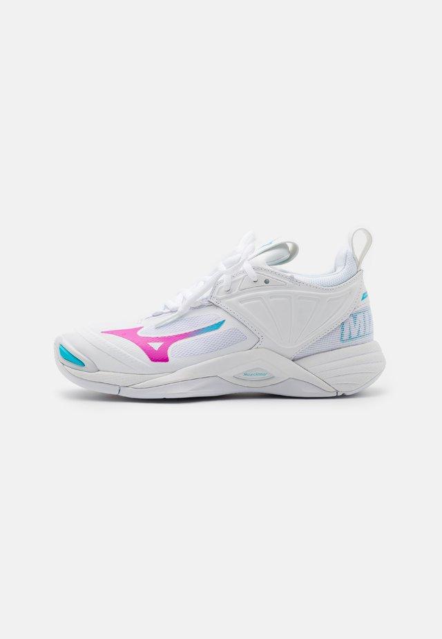 WAVE MOMENTUM 2 - Scarpe da pallavolo - white/pink glo/blue atoll