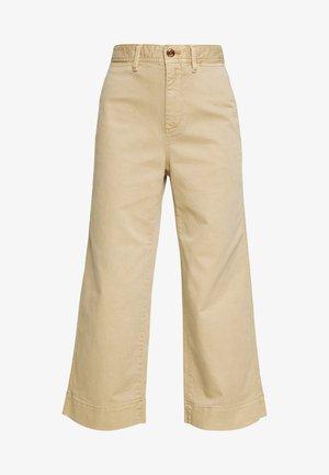 WIDE LEG SOLID - Trousers - khaki