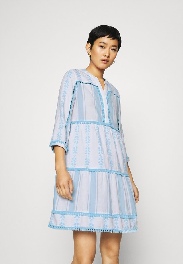 DRESS EMBROIDERED - Vapaa-ajan mekko - capri blue