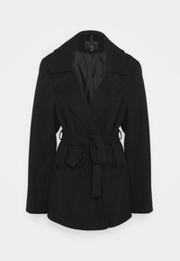 Dorothy Perkins Curve - CURVE SHORT WRAP BELTED THROW ONCOAT - Classic coat - black - 0