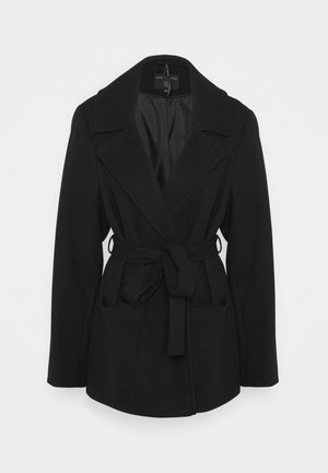 CURVE SHORT WRAP BELTED THROW ONCOAT - Classic coat - black