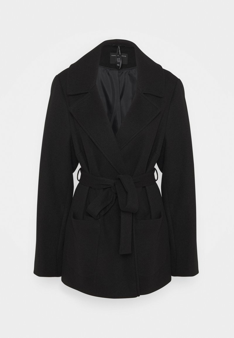 Dorothy Perkins Curve - CURVE SHORT WRAP BELTED THROW ONCOAT - Cappotto classico - black