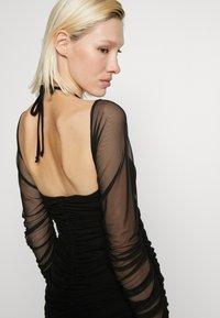Club L London - BARDOT TIE FRONT RUCHED MINI DRESS - Day dress - black - 3