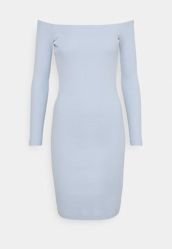 BASIC - Ribbed casual off shoulder long sleeves mini dress - Shift dress - light blue