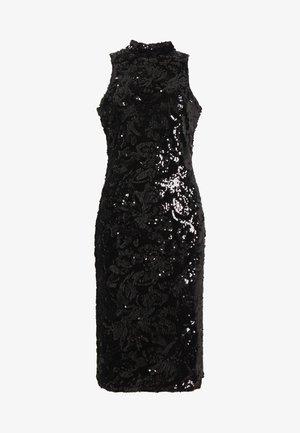 SEQUIN HIGH NECK MIDI DRESS - Cocktailkjole - black