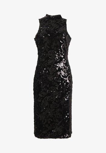 SEQUIN HIGH NECK MIDI DRESS - Koktejlové šaty/ šaty na párty - black