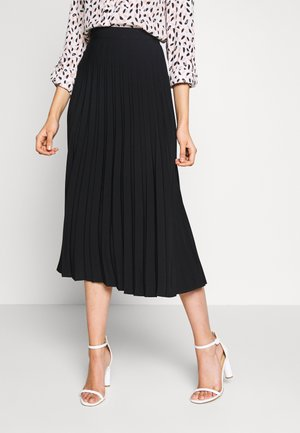 PLAIN PLEAT MIDI SKIRT - A-line skirt - black