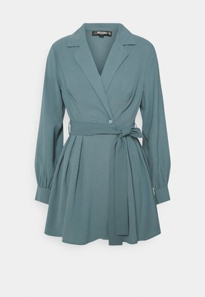 TIE BELT COLLAR SKATER DRESS - Day dress - teal