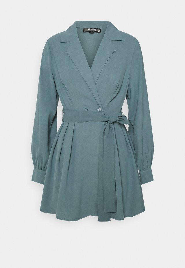 TIE BELT COLLAR SKATER DRESS - Day dress - teal