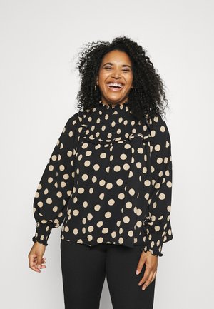 SMOCKED HIGH NECK BLOUSE WITH LONG SLEEVES - Blouse - black/sand