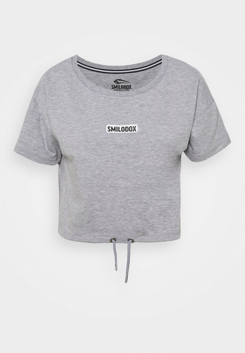 Smilodox - CROPPED FANCY - Basic T-shirt - grau/weiß