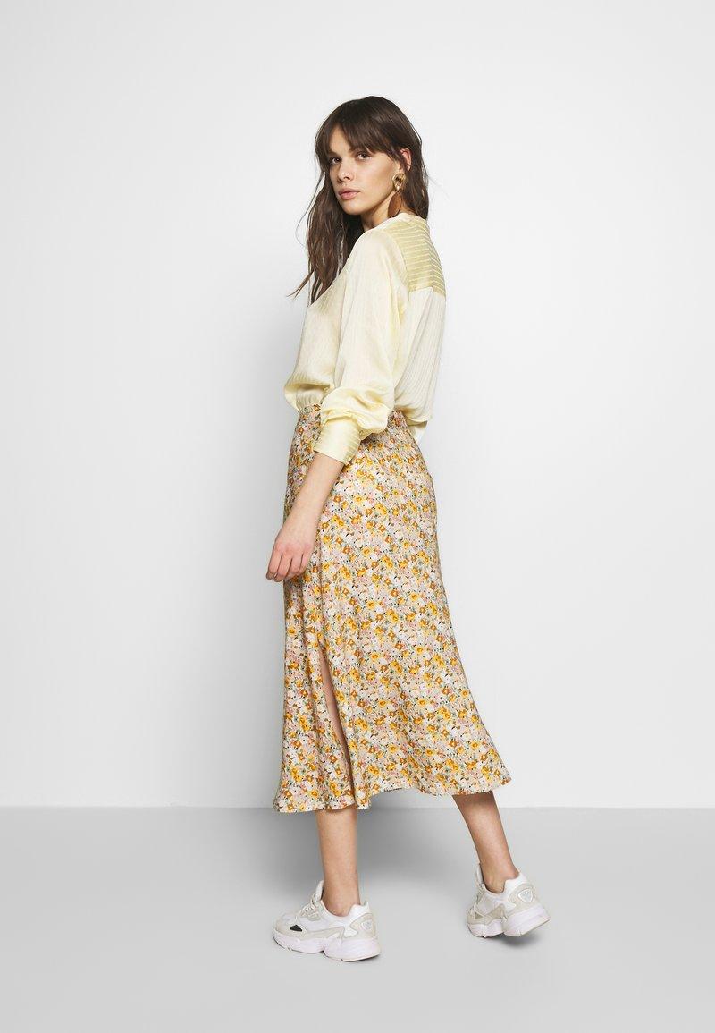 Mavi - LONG SKIRT - A-line skirt - antique white soft ditsy