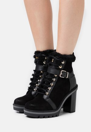 WARM LINED BOOT - Platform ankle boots - black