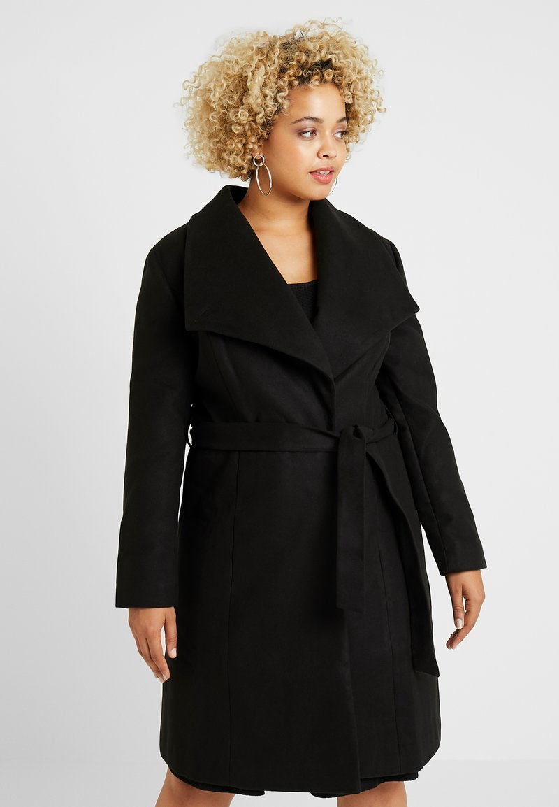 CAPSULE by Simply Be - LONGLINE BELTED WRAP COAT - Abrigo - black