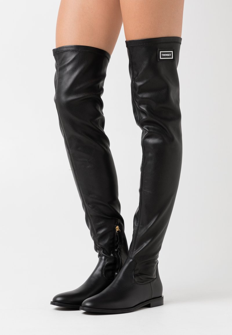 TWINSET - STIVALE TACCO BASSO CON GAMBALE STRETCH - Over-the-knee boots - nero