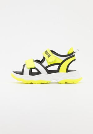UNISEX - Sandals - white/neon yellow