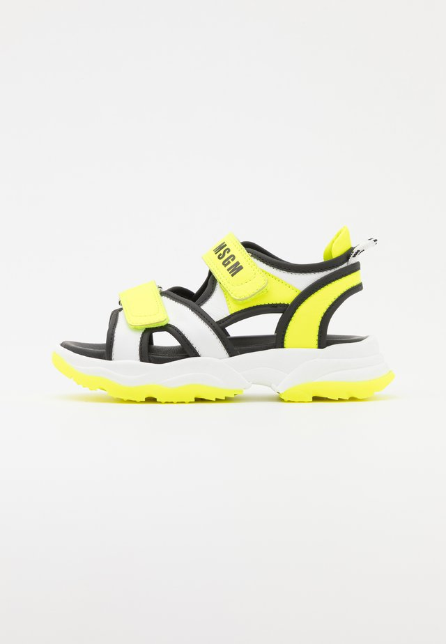 UNISEX - Sandalen - white/neon yellow