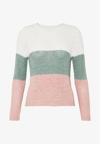 ONLY Petite - ONLGEENA BLOCK - Jumper - cloud dancer/chinois green/rose - 4