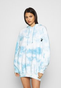 Missguided - PLAYBOY OVERSIZED HOODY DRESS - Korte jurk - blue - 0