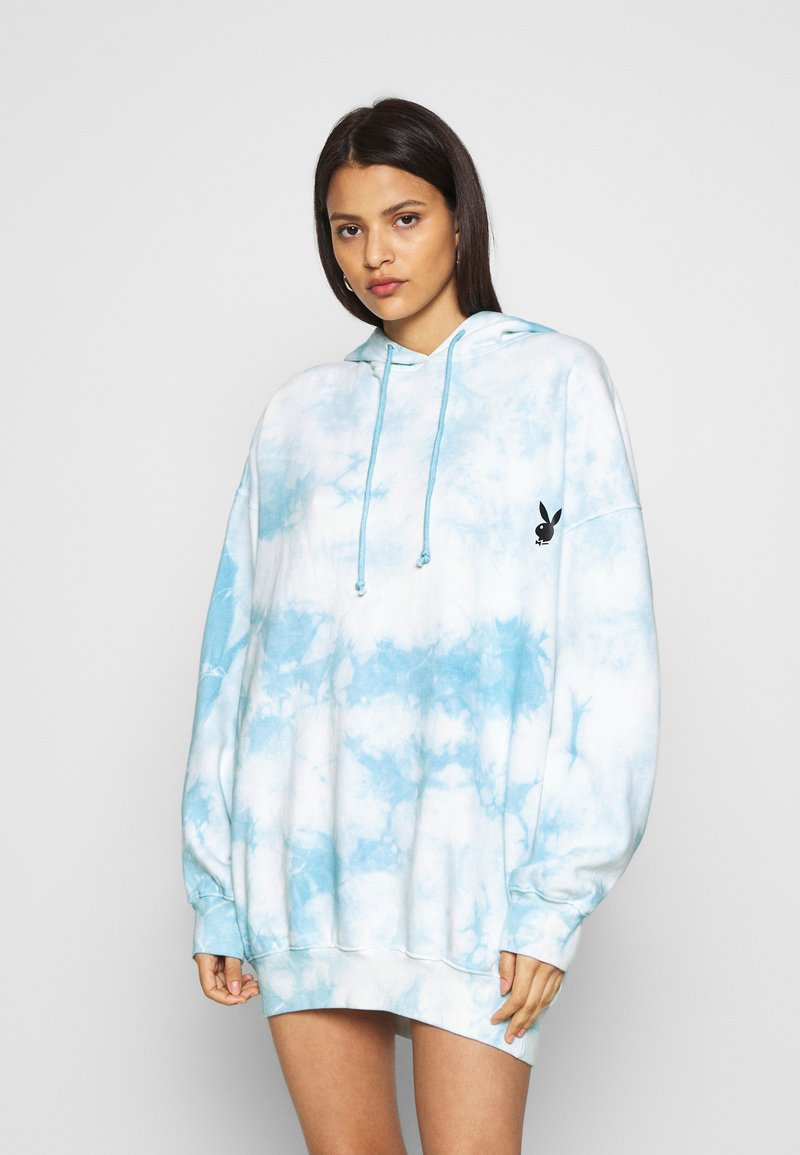 Missguided - PLAYBOY OVERSIZED HOODY DRESS - Korte jurk - blue