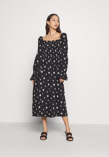 CROSS EMBROIDERED MIDI - Denní šaty - black