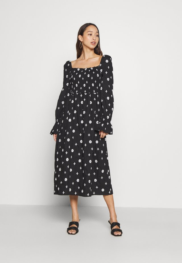 CROSS EMBROIDERED MIDI - Denní šaty - black