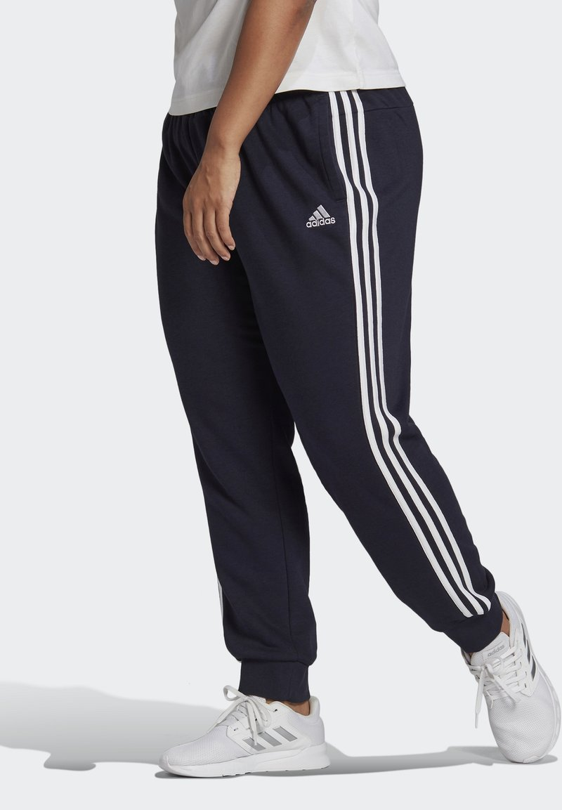 adidas Performance - ADIDAS ESSENTIALS FRENCH TERRY 3-STRIPES PANTS (PLUS SIZE) - Tracksuit bottoms - legink/white