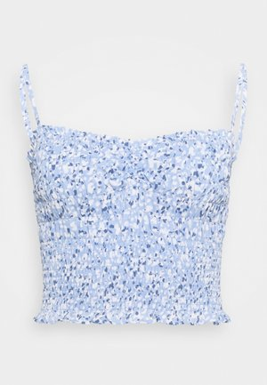 STRAPLESS SMOCKED - Top - blue