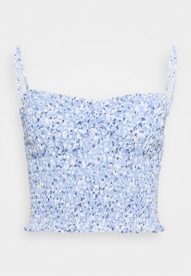 STRAPLESS SMOCKED - Topper - blue