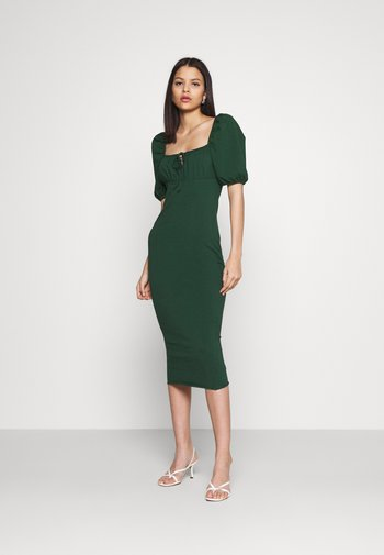 CARE PUFF SHORT SLEEVED MIDI DRESSES WITH SQUARE NECKLINE