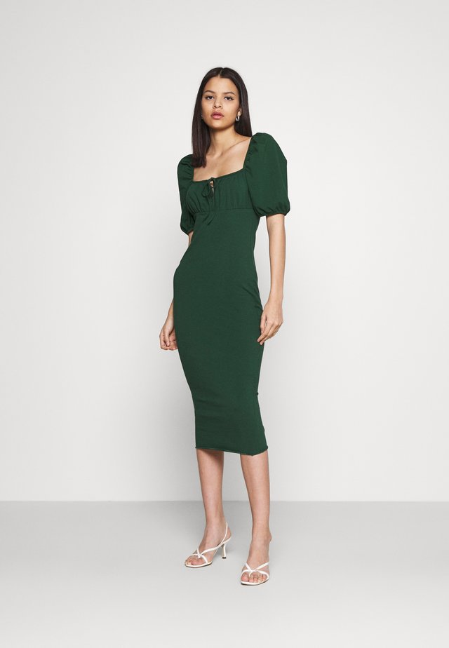 CARE PUFF SHORT SLEEVED MIDI DRESSES WITH SQUARE NECKLINE - Trikoomekko - forest green