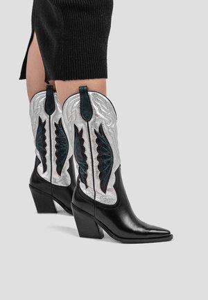 Laarzen met hoge hak - black/silver/emerald green