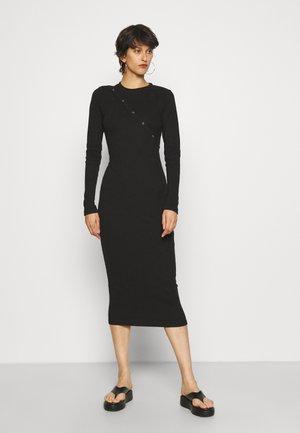 POPPER FRONT MIDAXI DRESS - Jurk - black