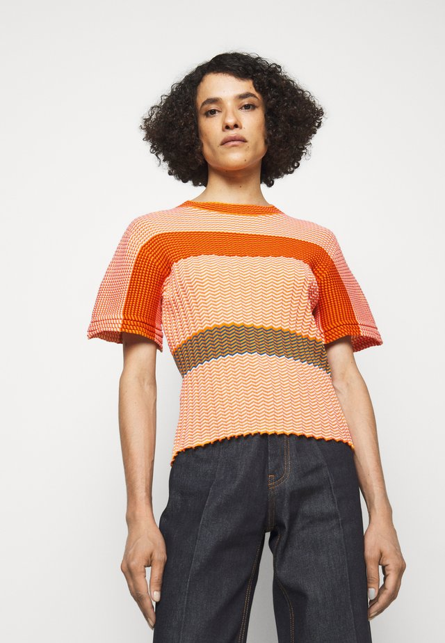 MINI STRIPE TEE - Strickpullover - orange/ecru/multi
