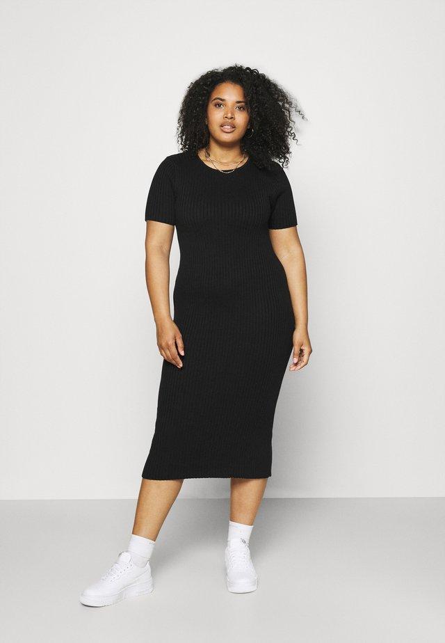 SHORT SLEEVE DRESS - Gebreide jurk - black