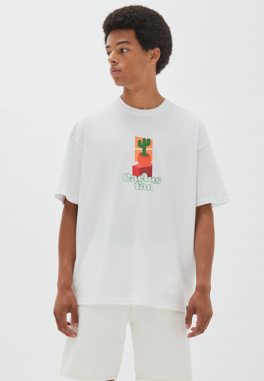 Herren Weißes Shirt Cactus Fan - T-Shirt print